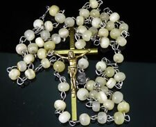 Vintage Rosary Gemstone Agate? Glass Beads Crucifix Cross Brass Mary Medal Italy