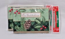 Amscan Holiday Pine Cone Holly Berry Invitation Cards 16 Cards Christmas