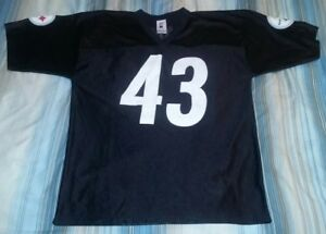 TROY POLAMALU #43 PITTSBURGH STEELERS BLACK REPLICA FOOTBALL JERSEY LARGE issue