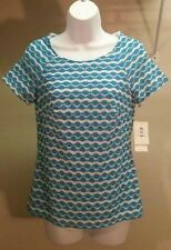 NWT $49 Eci New York Women's Blue White Geometric Short Sleeve Top Blouse Sz: S