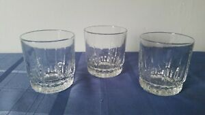 Arcoroc  France Crystal Whiskey Glass Scotch  Drinking Glasses Tumbler Set of 3