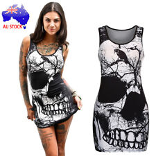 Halloween Women's Sleeveless Skull Printed Vintage Vest Dress Loose Casual Dress