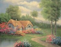"16""x12"" Oil Painting on Canvas, Country Cottage, Genuine Hand Painted"