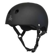 Triple 8 Skater Hardened Skate Helmet w/ Sweatsaver Liner, Black Rubber - Small