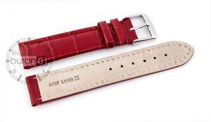 Uhrenarmband-Dornschließe-Leder, With Alligatorprägun RED 18mm,20mm,22mm24mm