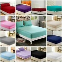 50Cm Extra Deep Wall Fitted 800TC 100%Cotton Flat AU~Single Double King SK,Solid