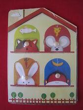 4-delige houten puzzel met noppen - huis - Puzzle en bois de 4pcs - nourriture
