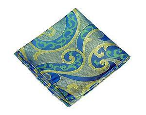 Lord R Colton Masterworks Pocket Square - Villarrica Blue Emerald Silk New