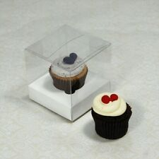 20 x 8cm Clear Plastic PVC Box + White Cup Cake Insert Holder Wedding Party Gift