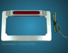CLOSEOUT!  LED Dual-Function Chrome Motorcycle License Plate Tag Frame (16-130)