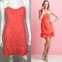 $198 Lilly Pulitzer Women's 6 Floral Lu Ginger Sheath Ruffled Strapless Dress