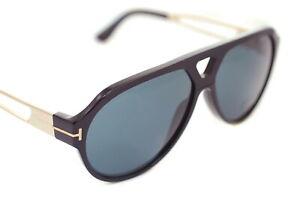 Tom Ford Paul TF778 01A Herren Groß Quadrat Sonnenbrille Schwarz Leder Gold Grau