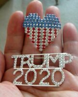 2 Great Pins Trump Re-Election Pin & USA Heart Flag Pin, Covered In Rhinestones