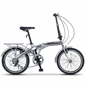 "20"" Folding Bike Front Suspension Mountain Bike Shimano 6 Speed Sports Bicycles"