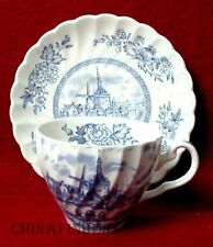 JOHNSON BROTHERS china TULIP TIME BLUE England Cup & Saucer Set - 2-3/4""