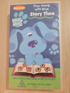BLUE'S CLUES ~ PLAY ALONG WITH BLUE ~ STORY TIME ~ RARE VHS VIDEO