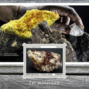 Togo 2021 MNH Minerals Stamps Baryte Vanadinite Biotite 1v S/S