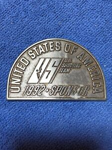 1992 BARCELONA OLYMPIC GAMES OLYMPICS SHOOTING TEAM USA METAL BELT BUCKLE