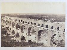 Photo Ancienne Albuminé Original Nimes Pont du Gard France Vers 1880