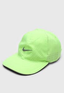 Nike Featherlight Dri-Fit Running Reflective Hat Cap Volt Green Women DC3598 358