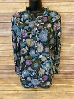 Talbots Long Sleeve Shirt Size Large Womens Blue Floral V-neck Casual Loose Fit