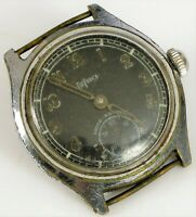 VINTAGE MANUAL WIND WRIST WATCH DEFRECE SWISS MADE BLACK MILITARY DIAL PARTS RPR