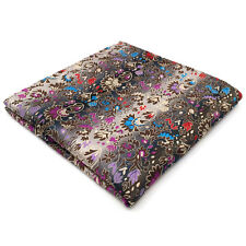 PH12 Floral Multicolor Hankies Mens Pocket Square Silk Large Size Hanky Large