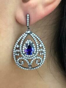 Black Gold Sterling Silver White Sapphire & Purple Amethyst Chandelier Earrings