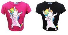 New Girls Kids DABBING UNICORN T-Shirt Crop Top Pink Black Age 7 8 9 10 11 12 13