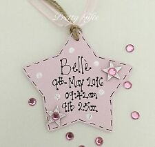 Personalised Star Plaque New Baby Boy Girl Gift Tag Keepsake Handmade