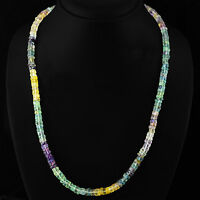 TOP 225.00 CTS NATURAL UNTREATED MULTICOLOR FLOURITE ROUND BEADS NECKLACE (RS)