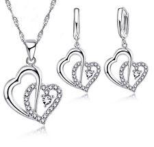 Conjunto collar y pendientes de corazones baño plata 925 y cristales de Jexxi