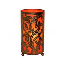LARGE Orange Bedside Fabric Lamp Hand Carved Metal Leaf Design Fair Trade