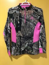 Mossy Oak Country Womens L/S 1/4 Zip Performance Shirt Camo / Neon Pink Sz L