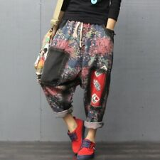 Casual Womens Denim Floral Drop Crotch Jeans Cropped Pants Loose Harem Trousers