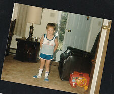 Vintage Photograph Adorable Little Boy In Shorts Standing in Living Room