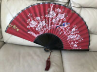 Antique Hand Fan Chinese Hand Painted Victorian Edwardian Qing 1900s 1910s Old