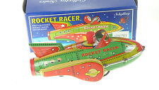 TIN TOY SPACE ROCKET RACER FRICTION MOTOR MAKES CLACK CLACK NOISE  COLLECTIBLE