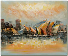 Sydney Opera House - Hand Painted Impressionist Cityscape Oil Painting On Canvas