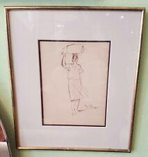 Auguste Mambour tableau encre  encadré et signé XXème