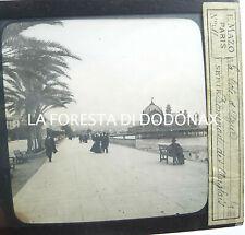 FOTO ANTICA LANTERNA MAGICA COTE D'AZUR CANNES 1870C promenade