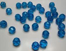 10 grosses perles rondes à facettes verre 10mm turquoise