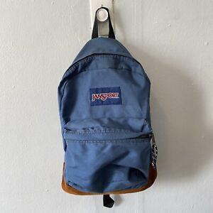 JanSport Light Blue Backpack Suede Leather Bottom