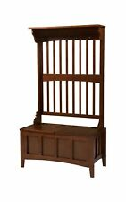 Linon Hall Tree Coat Hook Rack w/ Storage Bench Split Top Wooden Walnut Finish