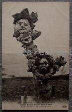 ROTHENEUF SCULPTURE TRONC D ARBRE  etudes de tetes  postcard