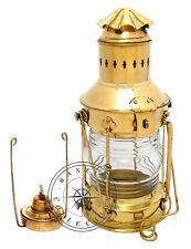 "Vintage Brass Oil Lamp Maritime Ship Lantern 15"" Boat Light Nautical Anchor Lamp"