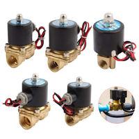2 Way SOLENOID VALVE AIR WATER GAS OIL BRASS NORMALLY CLOSED 12V 24V 240V AC/DC