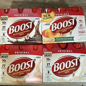 BOOST Complete Nutritional Drink Peaches Strawberry Vanilla Chocolate Variety 24