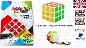 MAGIC CUBE SCRAMBLE AND SOLVE + FREE PREMIUM CUBE KEYCHAIN *UK SELLER*