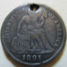 1891 United States US SILVER Seated Liberty Dime. 10 CENTS Coin (U202)